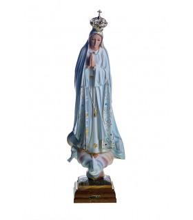 Nossa Senhora de Fátima pintura clássica olhos cristal 45 cm